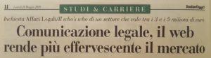 Titolo di ItaliaOggi sulla Comunicazione Legale