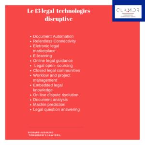 Elenco di 13 tecnologie disruptive nel mercato legale