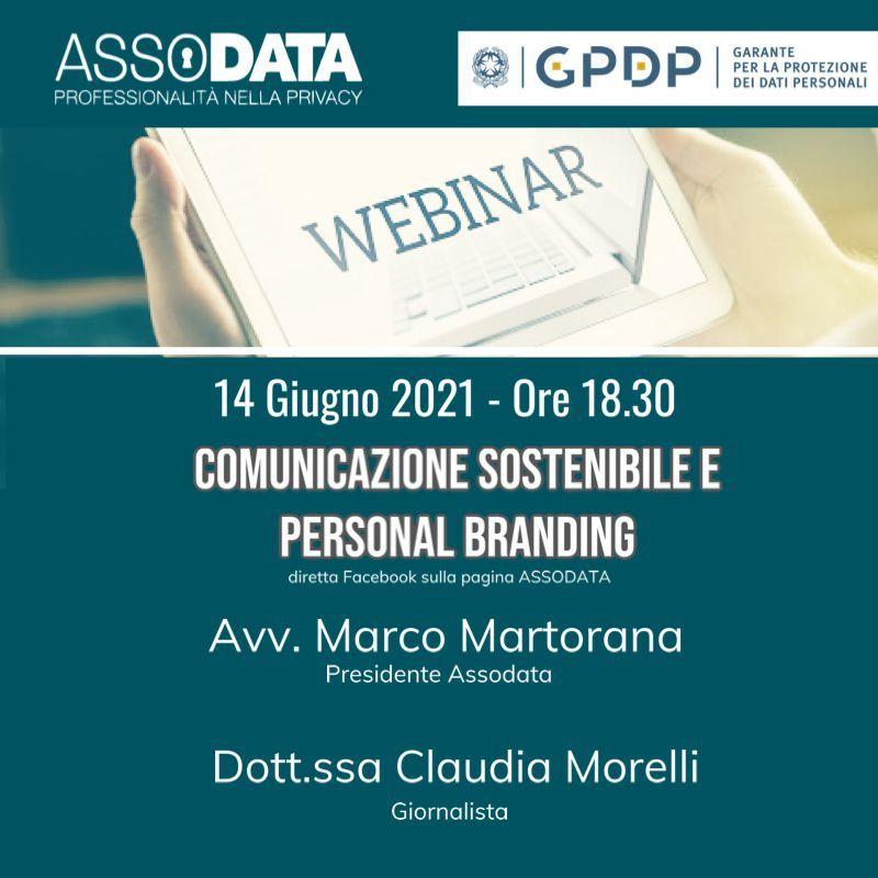 Locandina del webinar di Assodata con Claudia Morelli sulla comunicazione sostenibile degli avvocati